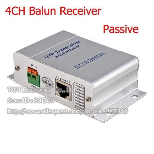 Free shipping 4 Ch Passive Video Balun Transceive for cctv camera ,BNC Converter ,cat5 UTP(China (Mainland))