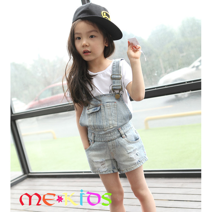 MD067 Kids Miss A 2015 new summer children denim vintage light blue with pocket patchwork baby girl short overalls pants rompers(China (Mainland))