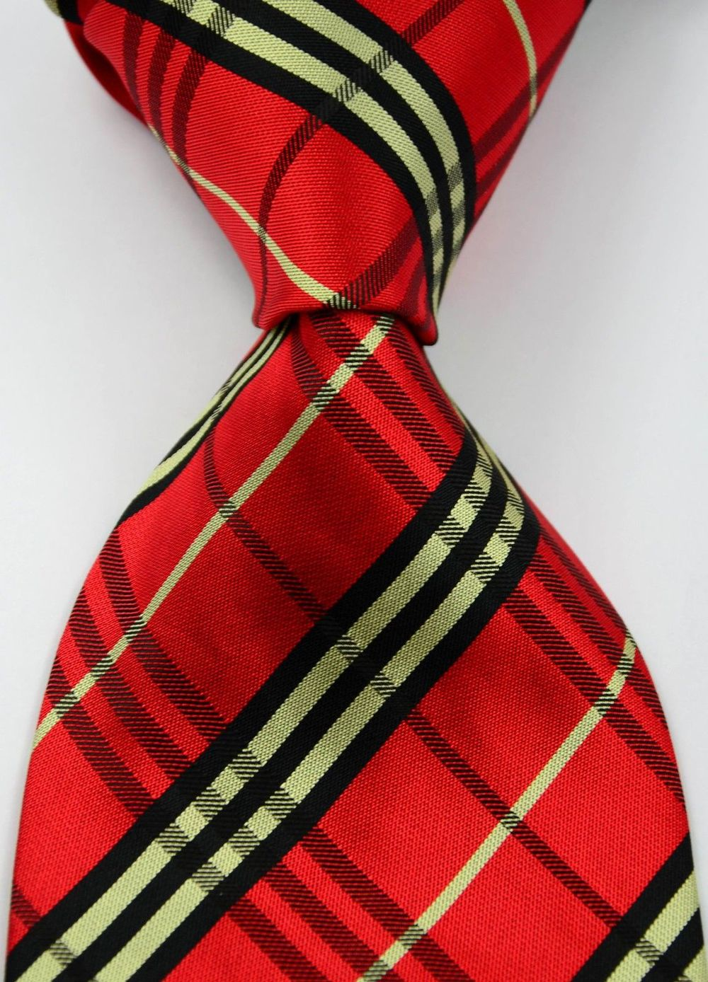Classic Striped Red Black JACQUARD WOVEN Silk Men's Tie Necktie #174 - wei669 store