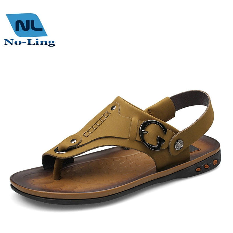 2016 Genuine Leather Mens Sandals Beach Shoes  Men Summer Flip Flops Slippers  Mens Shoes Casual Leather Men Open Toe Sandals<br>