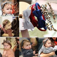 2015 Fashion Kids Headwear Plaid Leopard big bow girls hair accessories children kids checked velvet hairband P24