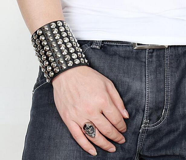 leather bracelet pulseras summer style Rock Punk Men Bracelets jewelry bracelets bangles