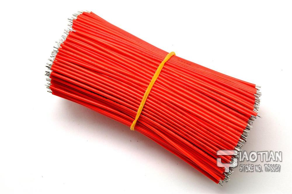 24AWG 10CM Red Stranded Conductor Wires Breadboard Jumper Cable Wires Tinned DIY 200PCS Lot