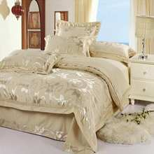 Luxury Jacquard bedding set Silk 4pcs satin bedclothes bed linen queen king size quilt/duvet cover set bedsheets cotton bedcover(China (Mainland))