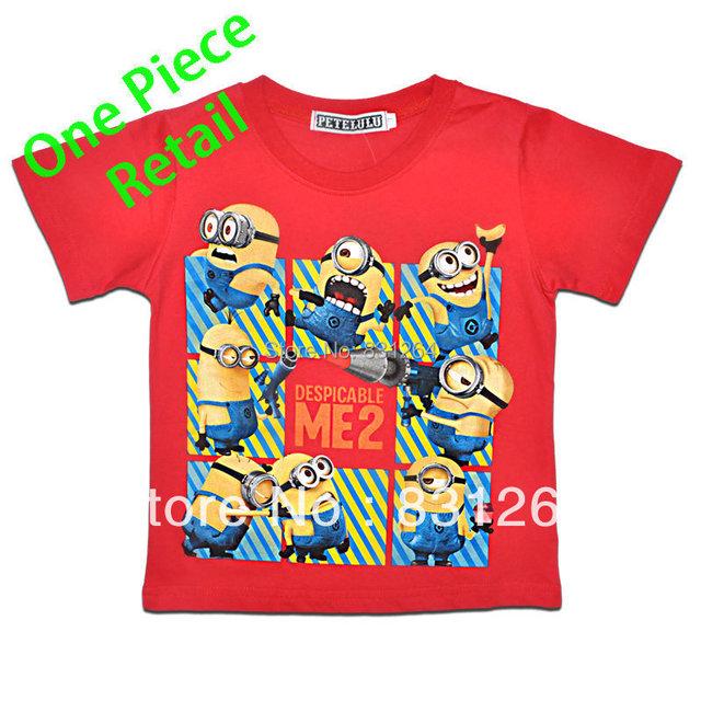 Free Shipping New 2014 Hot Minion Kid Boys Clothing 100%Cotton Short Sleeve Baby Boys Cartoon T shirt Minion