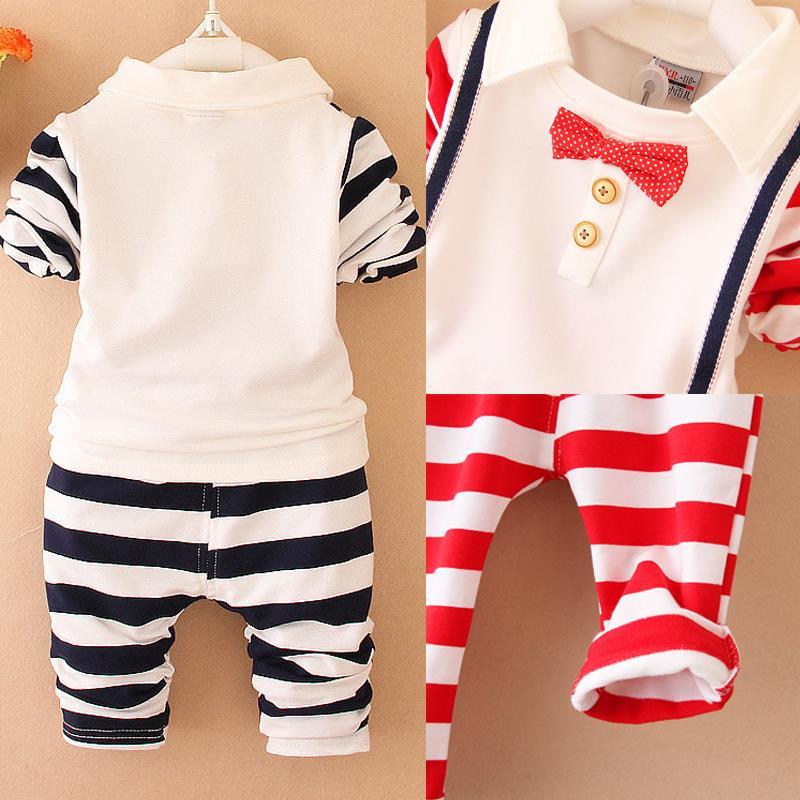 2015 осень дети мальчик комплект одежды долго Sleev футболка с бантом связывают малыша мальчиков комплект одежды для мальчиков жилет брюки