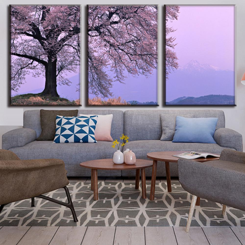 3 Pieces Canvas Painting Home Decor Framed Wall Painting Flower Picture Plum Cherry Blossom cuadros decoracion LA3026(China (Mainland))