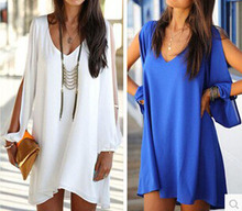 2015 Women Summer Casual Dress Sexy V neck Loose Unequal Short Chiffon Dress Plus Size Party