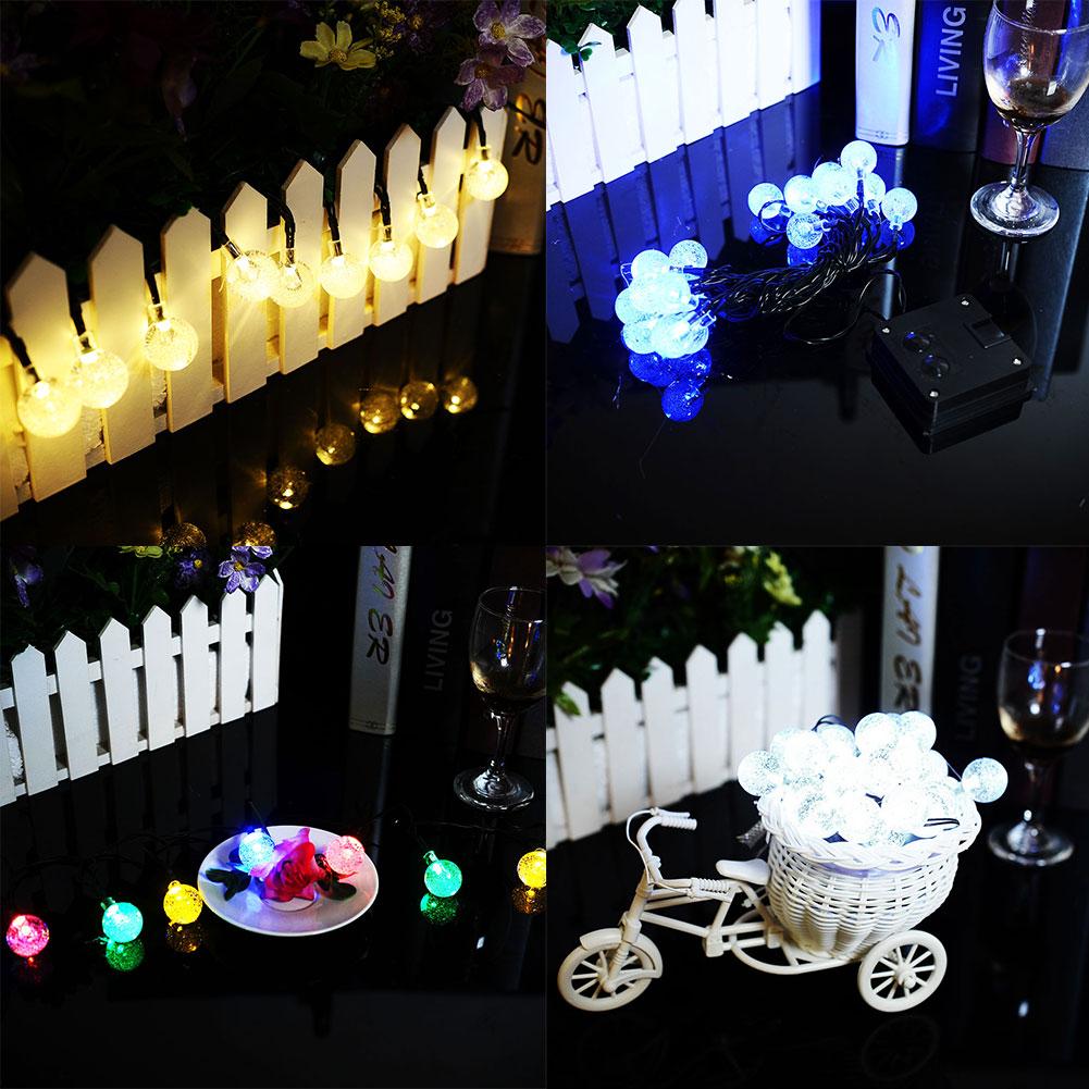 Solar Powered 20 LED Crystal Ball Garden Xmas Decor Fairy String Lights