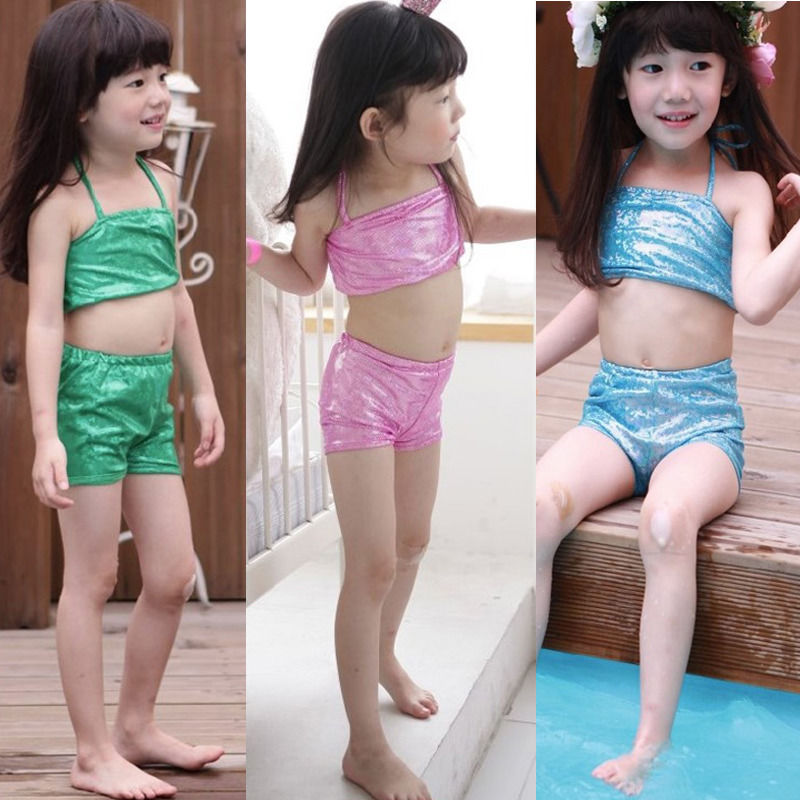 Дети девушки русалка бикини лета платья 3-части установлен костюм костюм костюмы 4-9Y великобритании