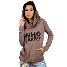 2016 Autumn Who Cares Letter Print Hooded Women Sweatshirt Casual Long Sleeve Pullover  for Female Draw String Hem Tops(China (Mainland))