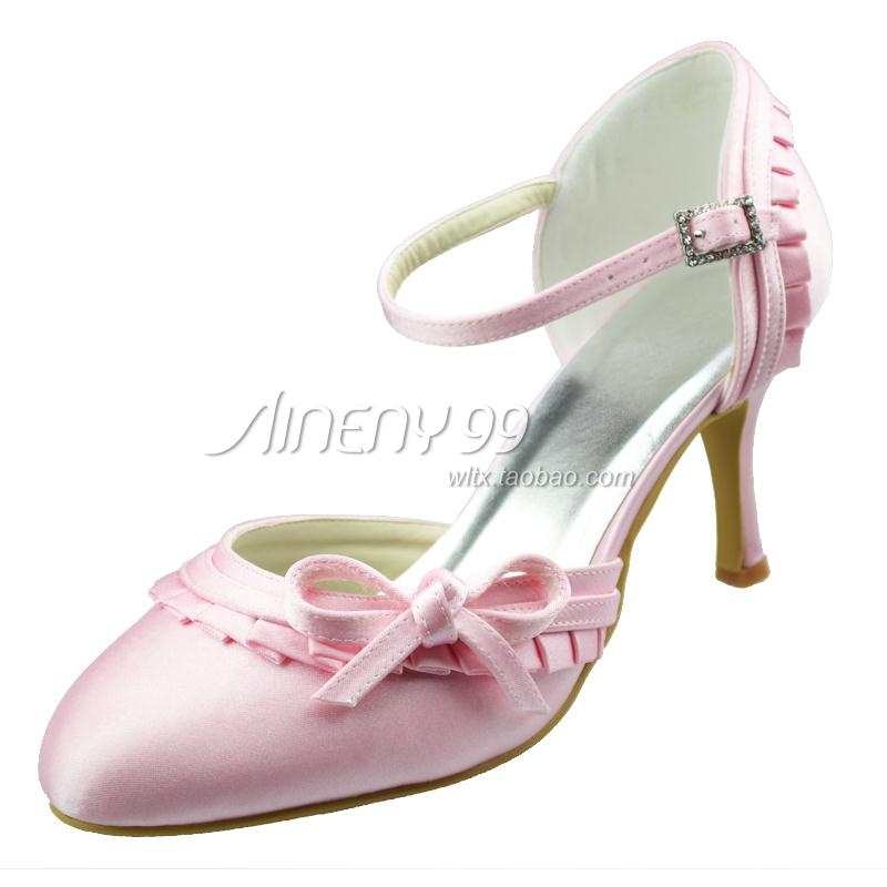 Aineny99 bridal shoes wedding shoes white high heel round toe shoes silks and satins bow single shoes formal dress shoes 155(China (Mainland))