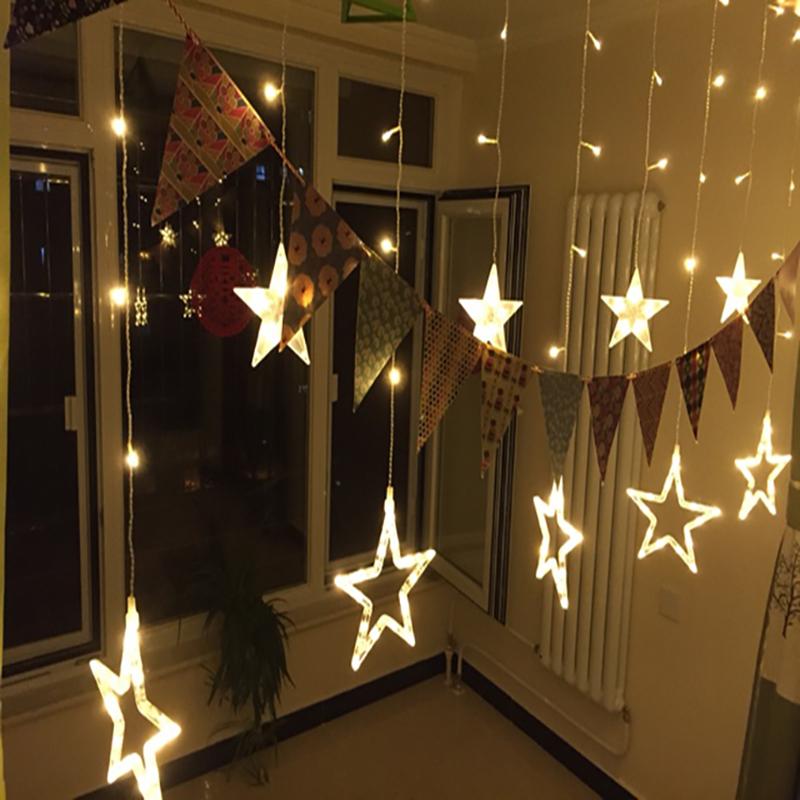 2016 hot product 220v waterproof led curtain light 12 big star light for wedding decoration(China (Mainland))
