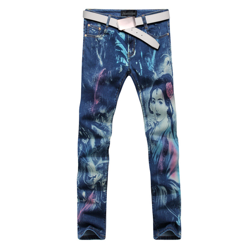 2016 new fashion straight leg jeans long men male printed denim pants cool cotton designer good quality brand trousers  MJB019