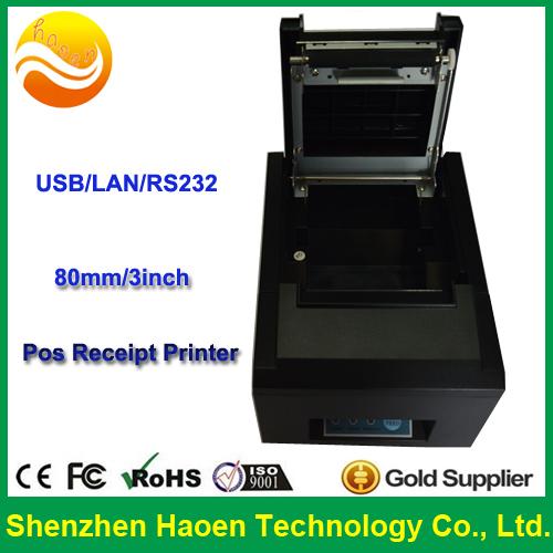 Wholesale Cheap POS Receipt printer Lan/USB/RS232 interfece, Thermal 80mm Receipt printer Barcode(China (Mainland))