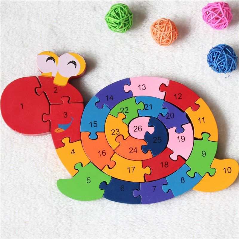 26 English Letters Educational Brain Game Kids Winding Snail Wooden Toys Wood Kids 3D Puzzle Wood Kids(China (Mainland))