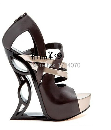 newest design elegant coffee catwalk shoes concise cut-outs design modern style fan-shaped hollow out heel decorated sandals<br><br>Aliexpress