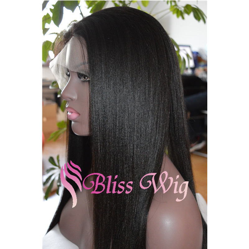 7A Natural Light Yaki Straight Full Lace Human Hair Wigs For Black Women Lace Front 100% Human Hair African American Yaki Wig(China (Mainland))