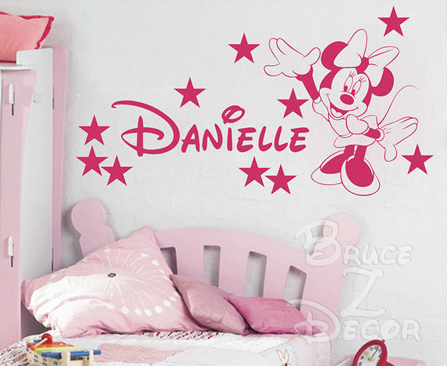 [B.Z.D] Free Shipping DIY Minnie Mouse Personalized Name Art Decals Home Decor Vinyl Wall Stickers for Children Bedroom 55x28in