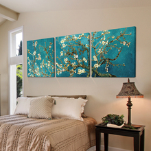 Print Painted Van Gogh Oil Painting Reproductions 3 Piece Abstract Canvas Art Apricot flower Picture canvas painting Modern(China (Mainland))