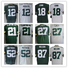 Cheap Men's elite jersey jersey,Elite 4 Favre 12 Rodgers 18 Cobb 27 Lacy 52 Matthews 87 Nelson Jerseys,Size M-XXXL,Best Quality(China (Mainland))