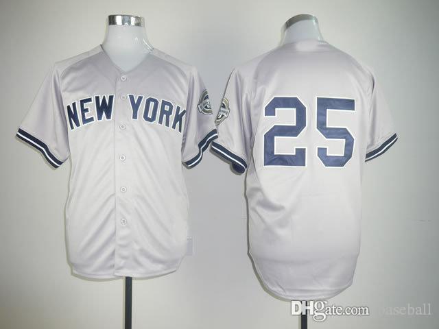 Yankees #25 Grey Baseball jersey, Wholesale Athletic & Outdoor Apparel , Baseball Wear Allow Mix Order(China (Mainland))