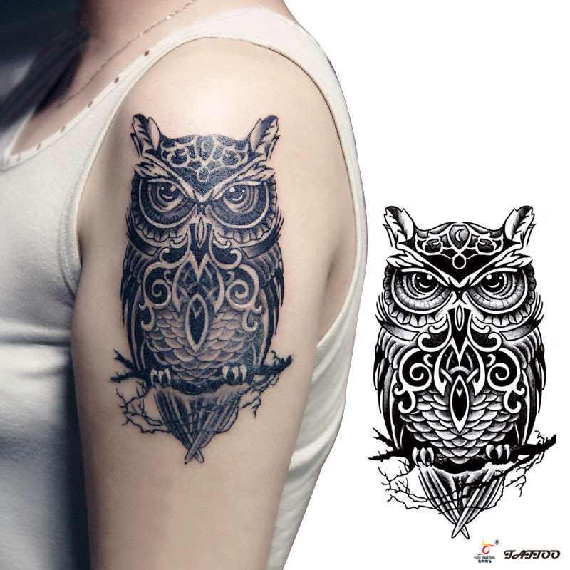 Buy temporary tattoos large black owl arm for Arm mural tattoos
