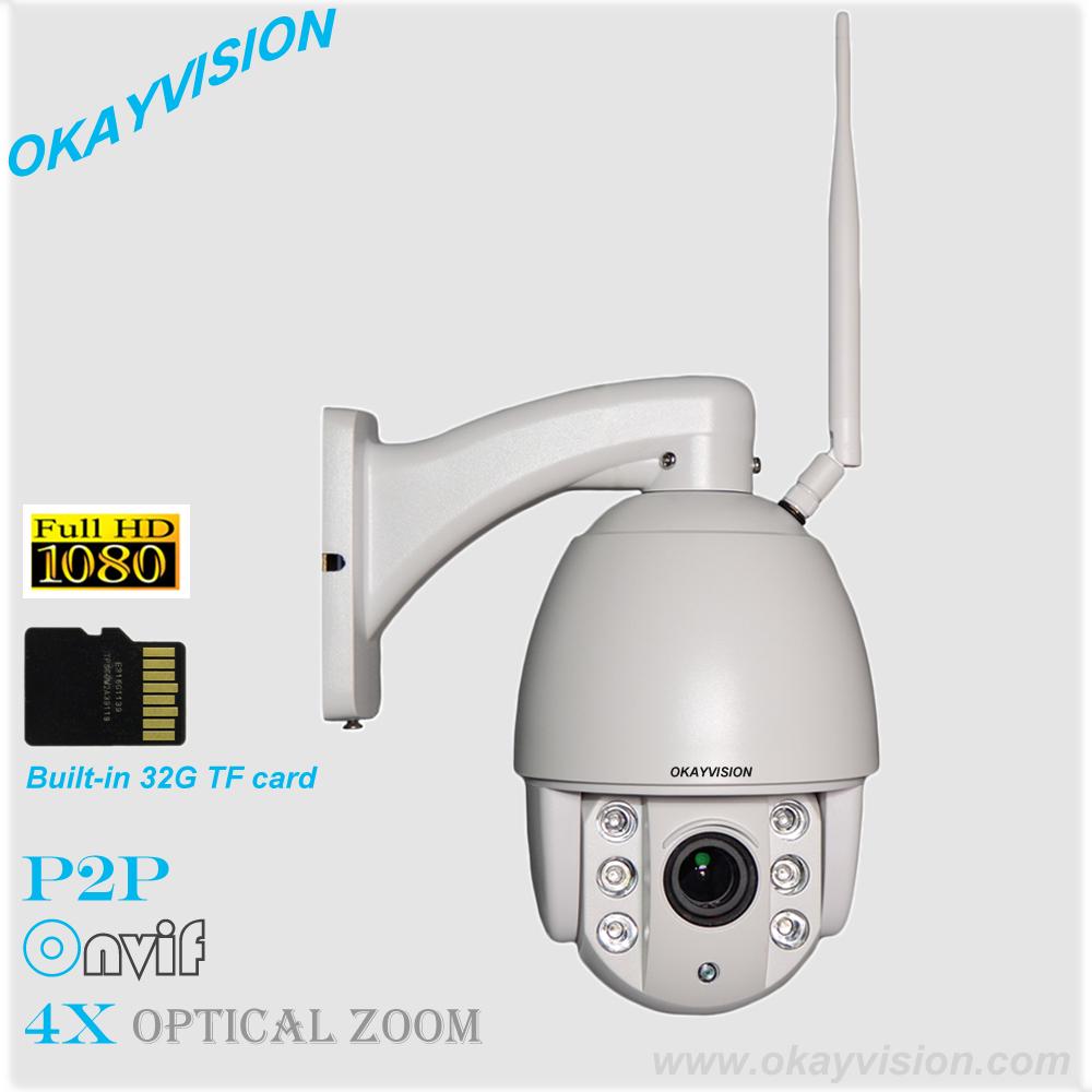 1080p Low Illumination SONY Sensor WIFI full hd p2p outdoor indoor Pan/Tilt 4X optical Zoom ip ptz camera Built-in 32G TF card(China (Mainland))