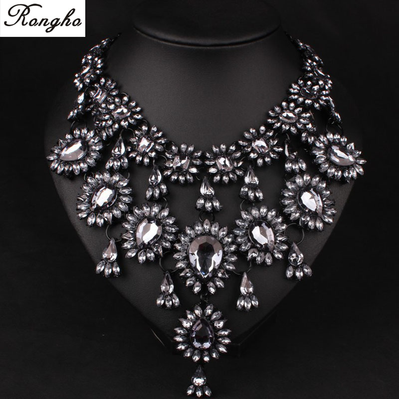 Hot Fashion new brand Necklace Chunky Statement Pendants Women Crystal Choker necklace 2015 Vintage Wedding Jewelry - Rongho jewelry 216326 store