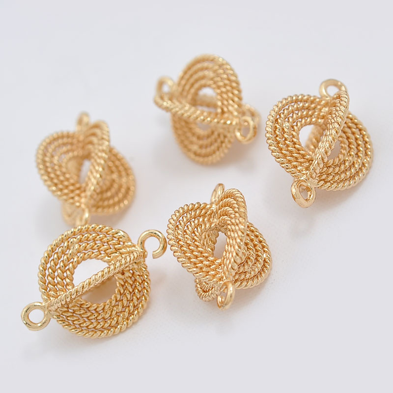 Wholesale Brass Jewelry Connector Flat Round real gold plated bracelet pendant connector charm nickel free(China (Mainland))