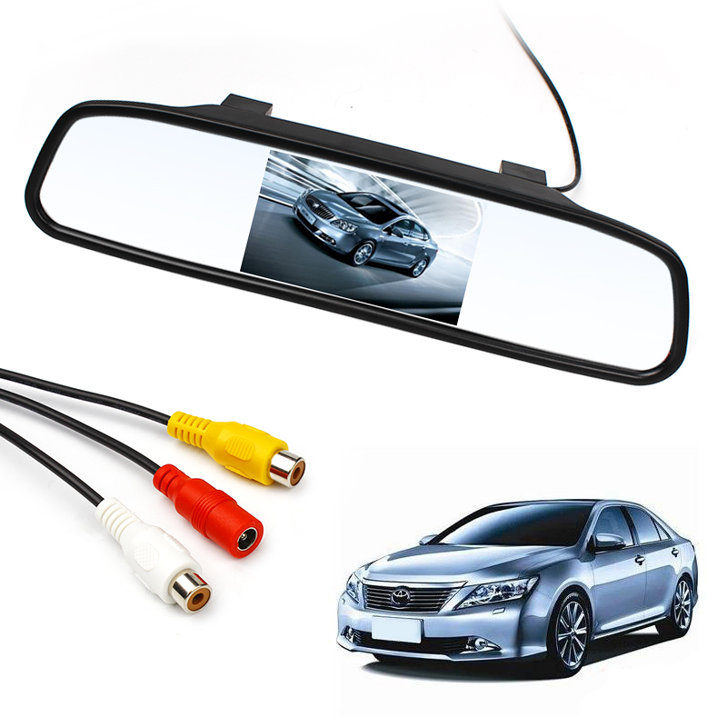 HD Video Auto Parking Reverse Camera Monitor 4.3 inch Car Mirror Monitor For Rear View Camera #HP(China (Mainland))