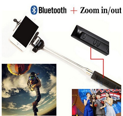 dhl 12pcs lot zoom in out focus handheld extendable pole bluetooth selfie stick monopod. Black Bedroom Furniture Sets. Home Design Ideas