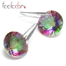 Huge 38.5ct Fabulous Women Genuine Mystical Fire Rainbow Topaz Drop Earrings Round Concave Cut Solid 925 Sterling Silver Jewelry(China (Mainland))