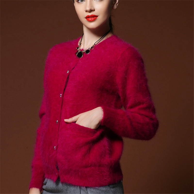 Autumn Winter 2015 NEW European Style Women Fashion Outwear Cardigans Knitted Sweater Mink Cashmere Sweater Women High Quality(China (Mainland))