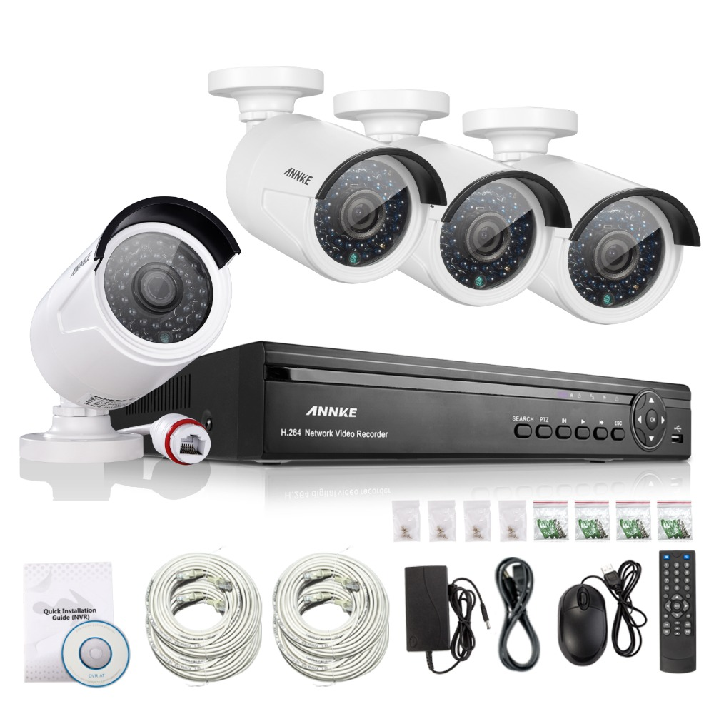 ANNKE 4CH NVR 960P IP Network PoE Video Record IR Outdoor CCTV Security Camera System Home video Surveillance kit(China (Mainland))