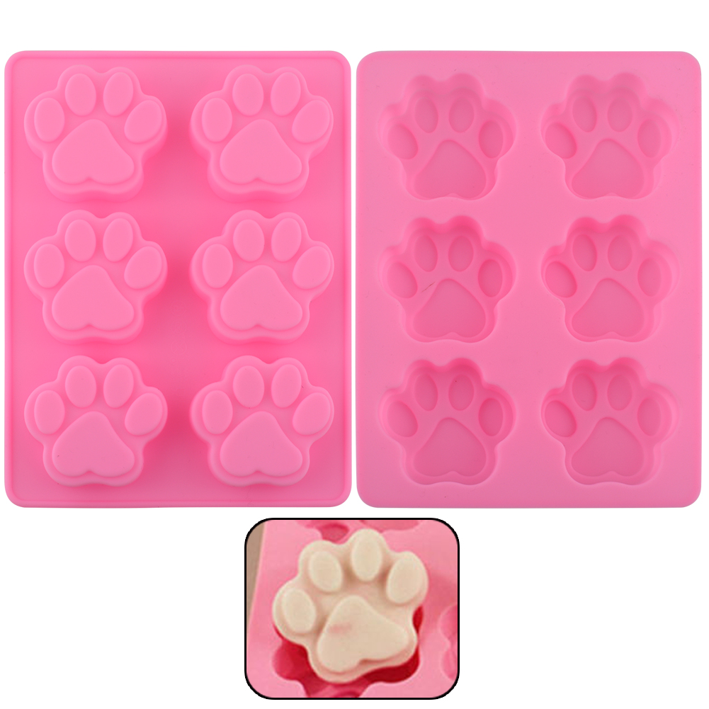 Lovely Sweet Multifunction Dog Paw Silicone Mold Ice Cube Cake Soap Baking Mould Kitchen Accessoriess Free Shipping(China (Mainland))