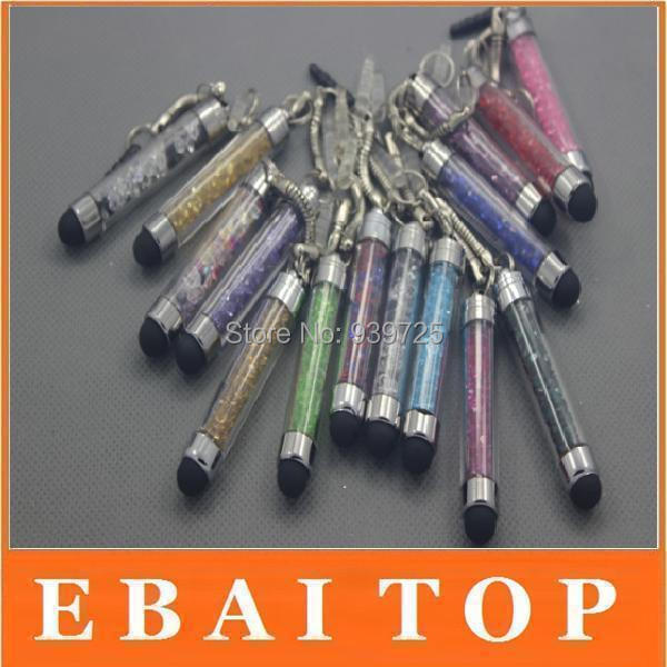 2000pcs Wholesale with Dust Plug Crystal Stylus Touch Pen Screen Touch Pen for iPad Mini 2 3 iPhone 4 4S Samsung Galaxy S3 S2(China (Mainland))