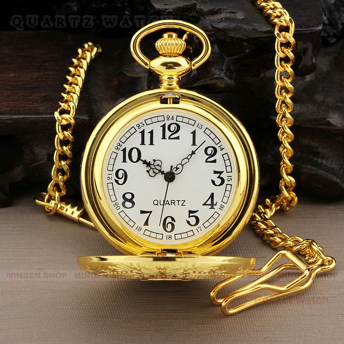 PQ094 Men Dress Gold Round Case Quartz Pocket Watch Chain