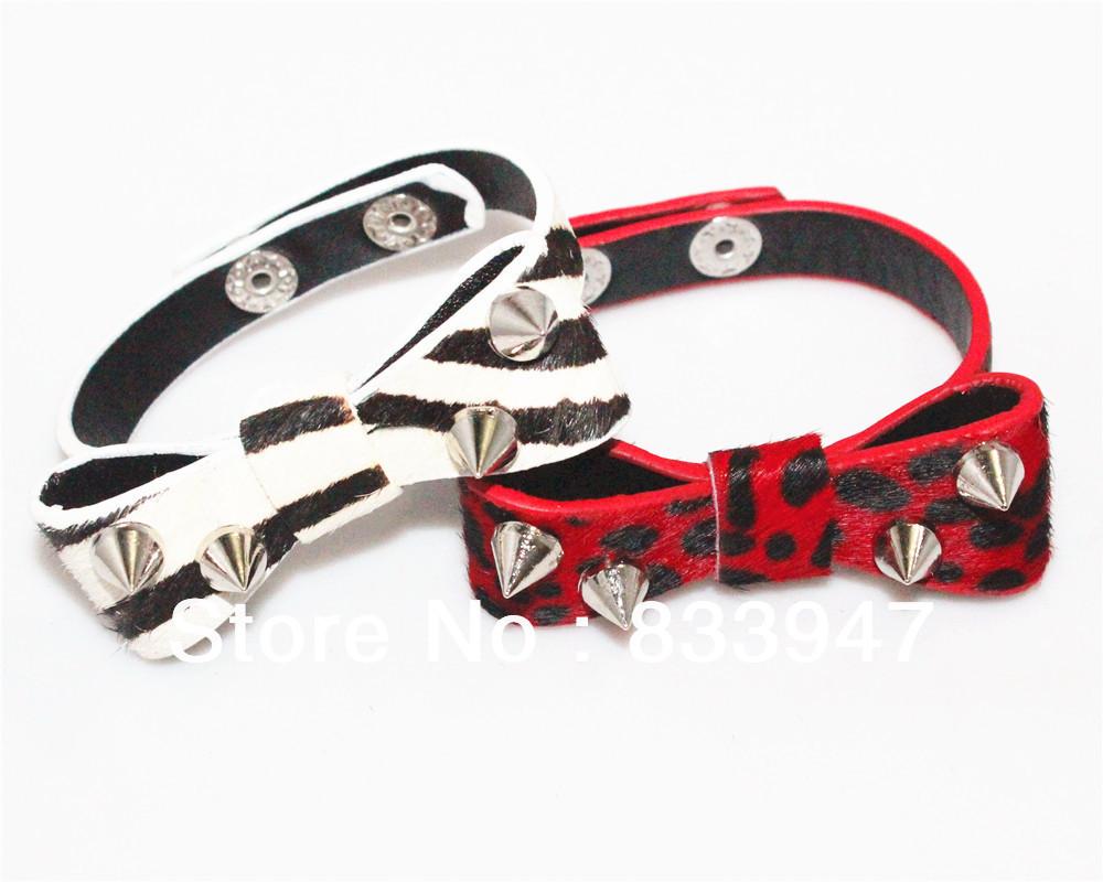 Punk Charm Bracelet Bangle 2 Colors Bow Leather Stud Bracelet for Girls 3 pcs a lot Free shipping HY12019(China (Mainland))