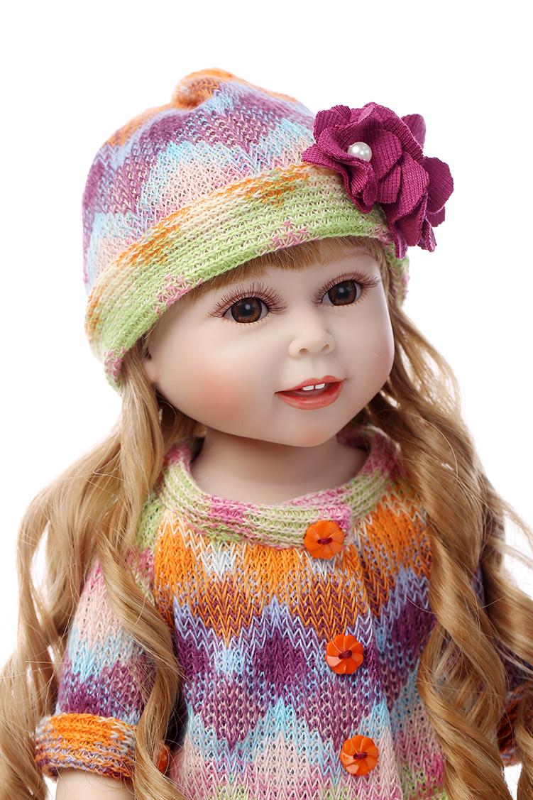 Hot Sale 18'' 45CM AMERICAN GIRL Long hair Beauty Reborn handmade newborn baby dress up dolls for girls gift kids brinquedos(China (Mainland))