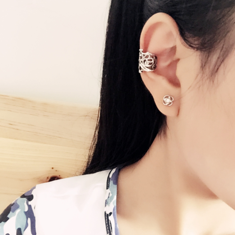 6 Pcs Vintage Antique Ear Cuff Punk Small Flower Hollow Charm Clip Earrings Wholesale Jewelry For Women and Men 2015 Pendientes(China (Mainland))