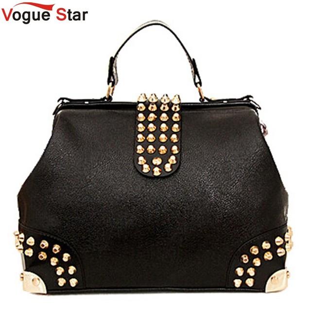 Vogue Star 2016 Hot New Design Women Fashion Rivet Motorcycle Handbags Retrpo Doctor Shoulder Bag PU Leather Women A309