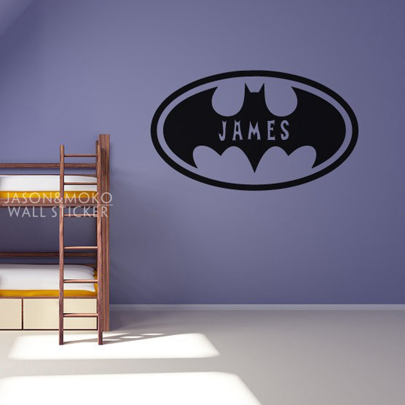 Batman Oval Personalised Customized Name Wall Stickers Home Decor Bat Vinyl Decal Mural