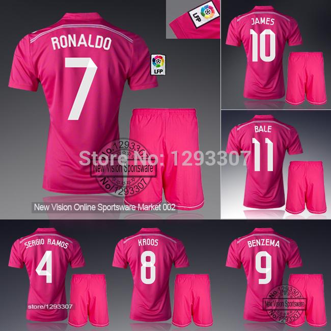 2014 15 Embroidery Madrid Pink Away Ronaldo Kroos James Bale Benzema Football Kit Uniform Men Sports Outfit Soccer Jersey Set(China (Mainland))