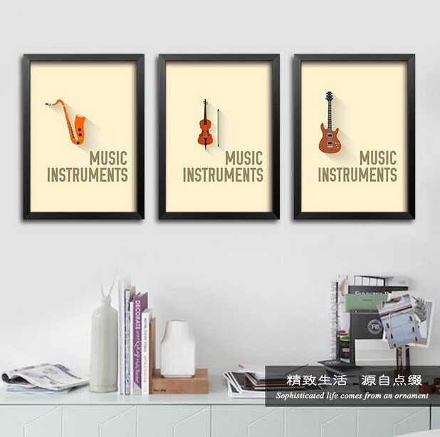 12pcs/set Fashion Modern Music Instruments Wall Decal Sticker Quote Wall Stickers Home Decor Music Classroom Wall Art Stickers(China (Mainland))