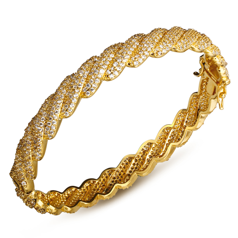 Love Bracelet jewelry Europe and America style Bangle gold plated with Cubic zircon luxury Women Bangles free shipment(China (Mainland))