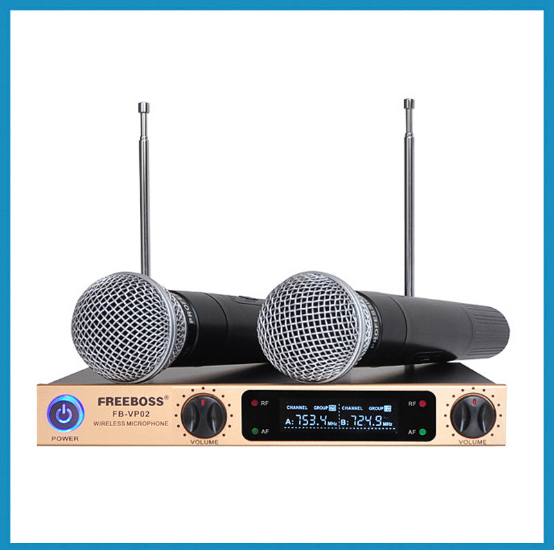 FREEBOSS Professional Microphones Metal Shell Golden LCD Display KTV Party Mic System Handheld Wireless Karaoke Microphone(China (Mainland))