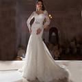 Illusion Long Sleeves Lace Mermaid Wedding Dresses 2017 Vintage Sweetheart with Beads Sashes Wedding Bridal Dresses