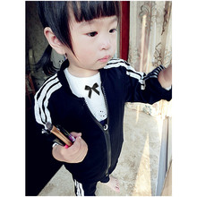 free shipping Original design 2015 fashion female baby autumn girl long suit infant children's clothing han edition cotton  90(China (Mainland))
