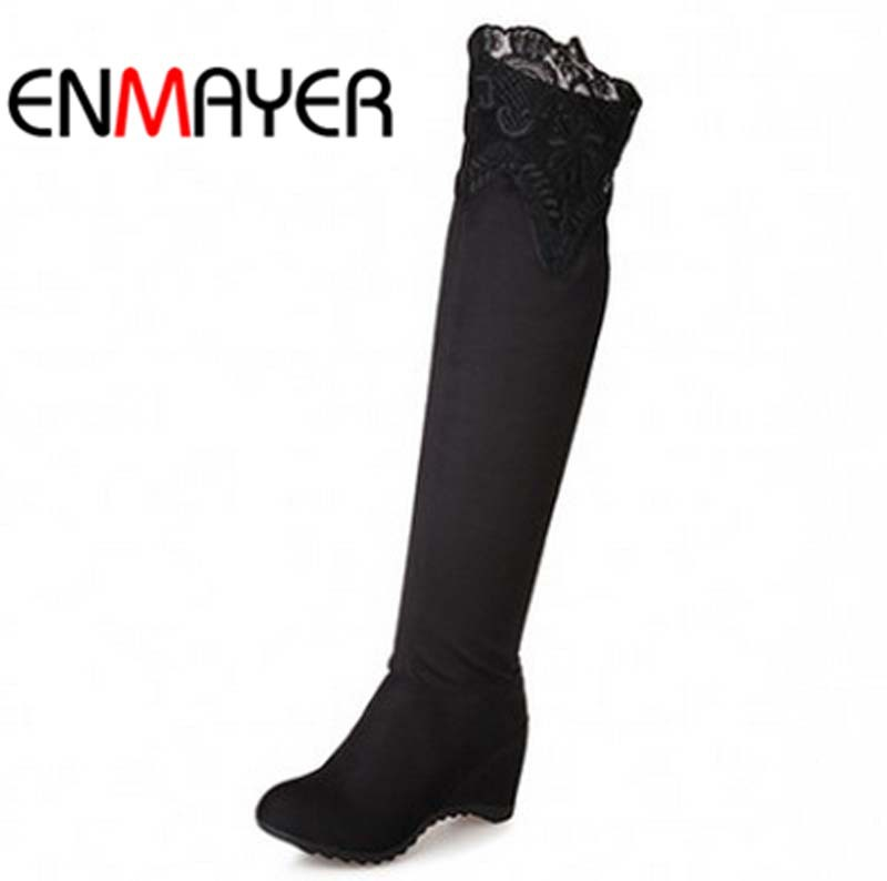 ENMAYER New Hot sale autumn winter boots thin heel knee high long boots platform motorcycle boots for women round toe size 34-39<br><br>Aliexpress